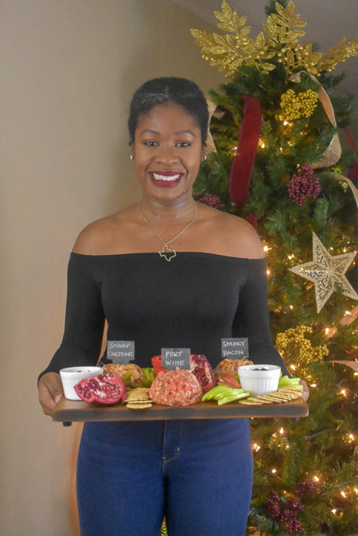 Dash of Jazz holding holiday cheese board