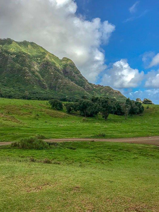mountain view at Kualoa Ranch Oahu Hawaii