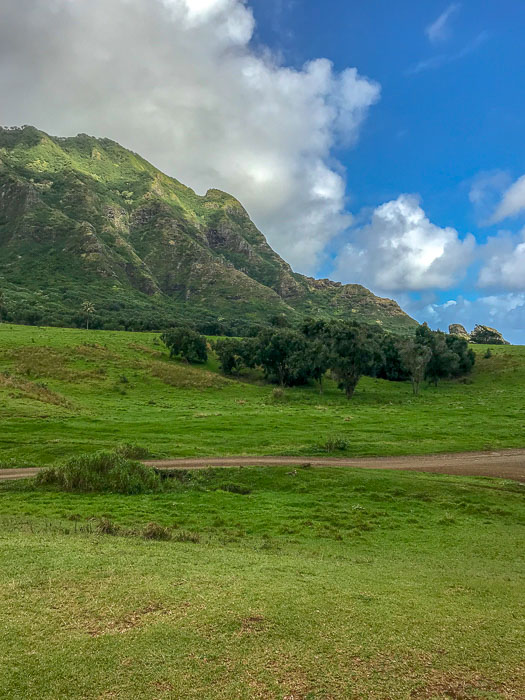 mountain view at Kualoa Ranch Oahu Hawaii