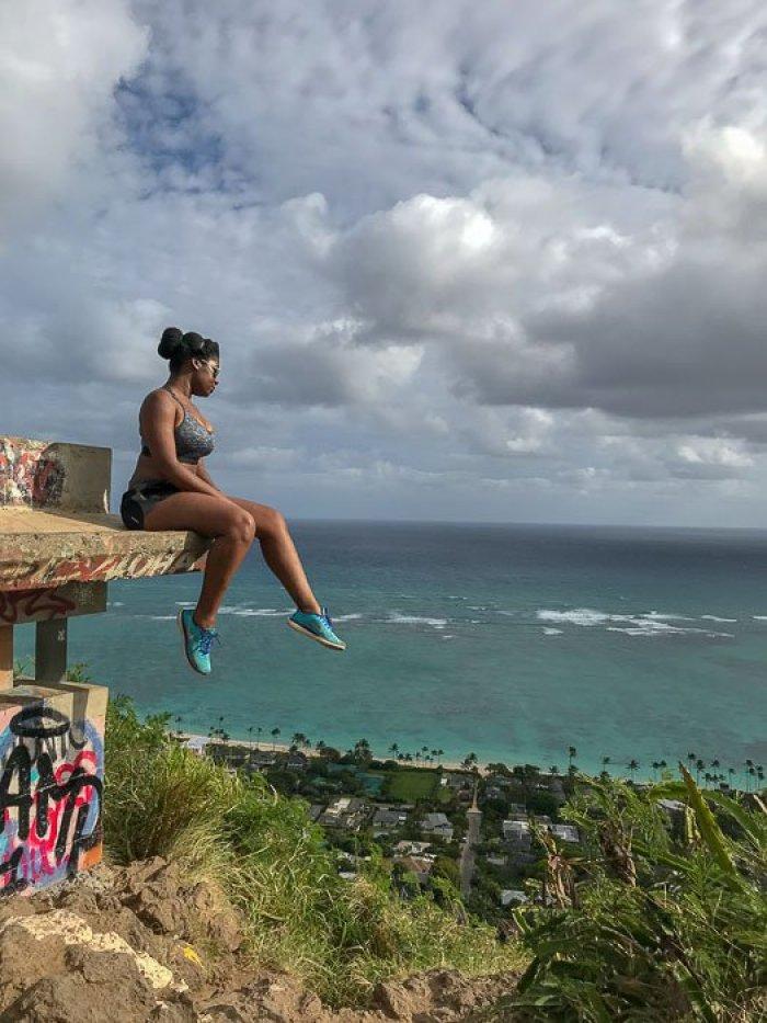 Dash of Jazz overlooking view from Lanikai Pillbox Oahu Hawaii