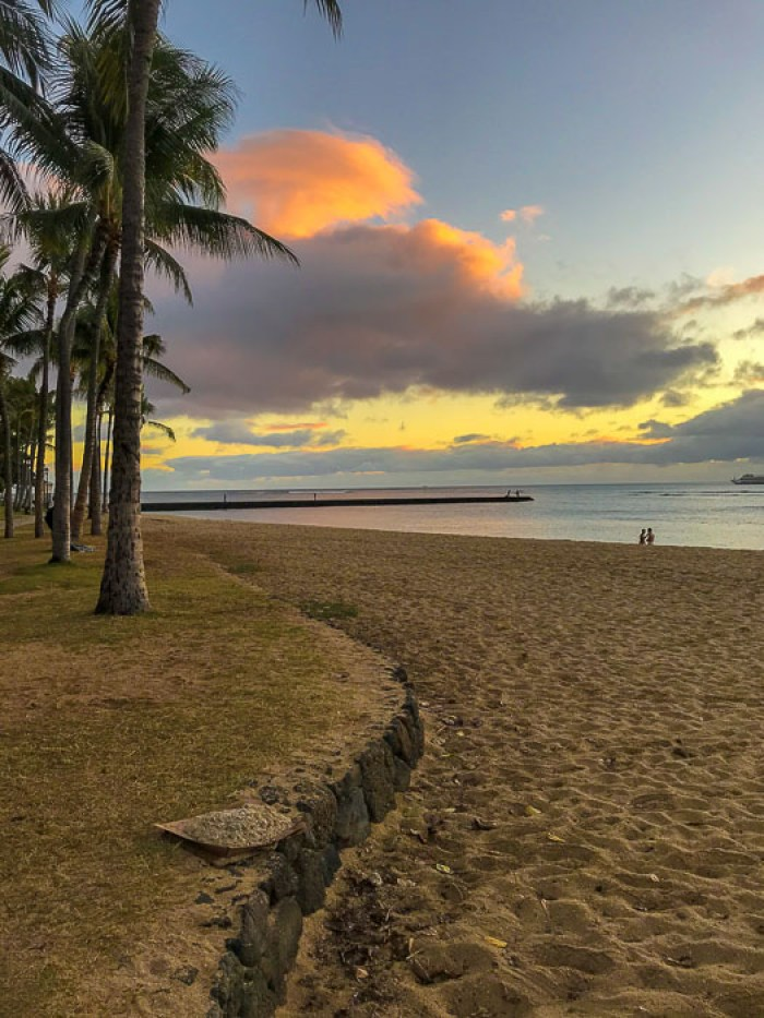 Waikiki Beach at Sunset, Honolulu, Oahu, Hawaii