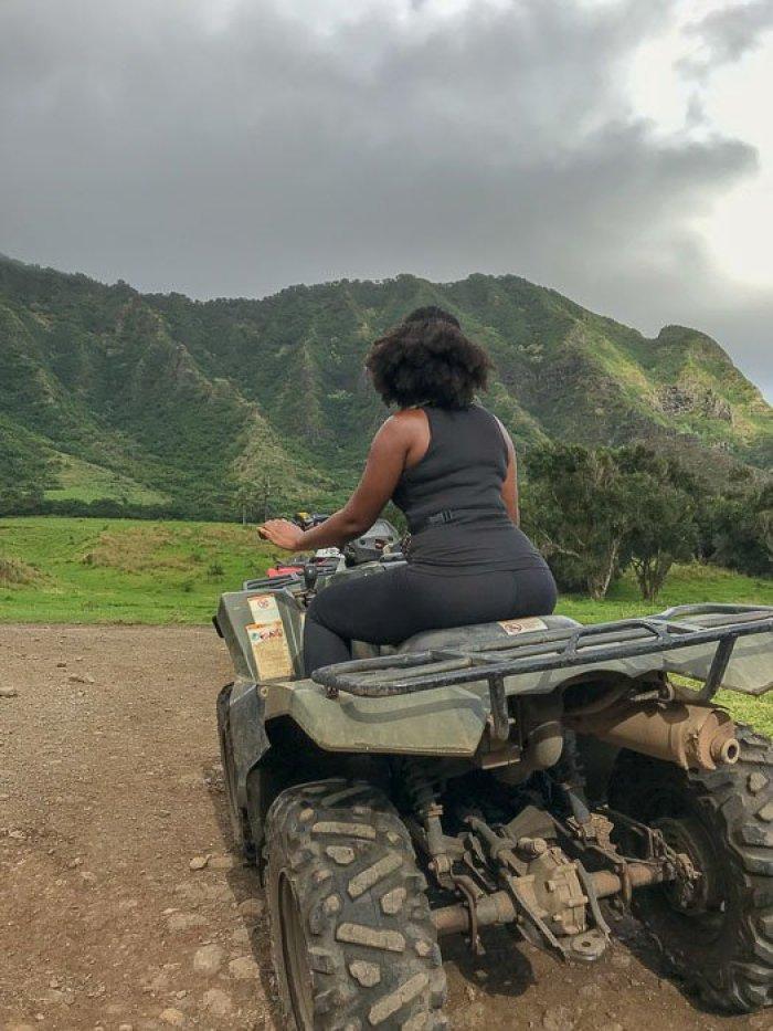 Dash of Jazz on ATV at Kualoa Ranch Oahu Hawaii