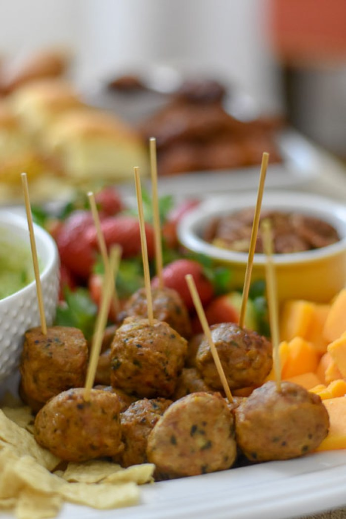 Aidell's chicken meatballs on toothpicks