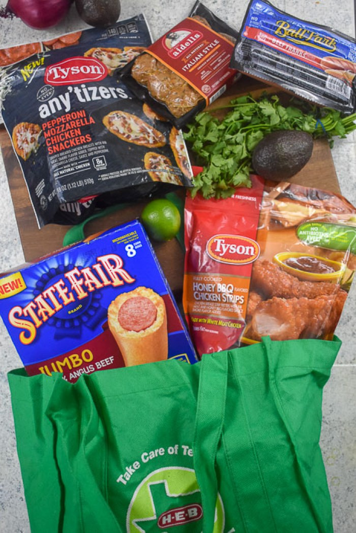 HEB reusable shopping bag full of groceries