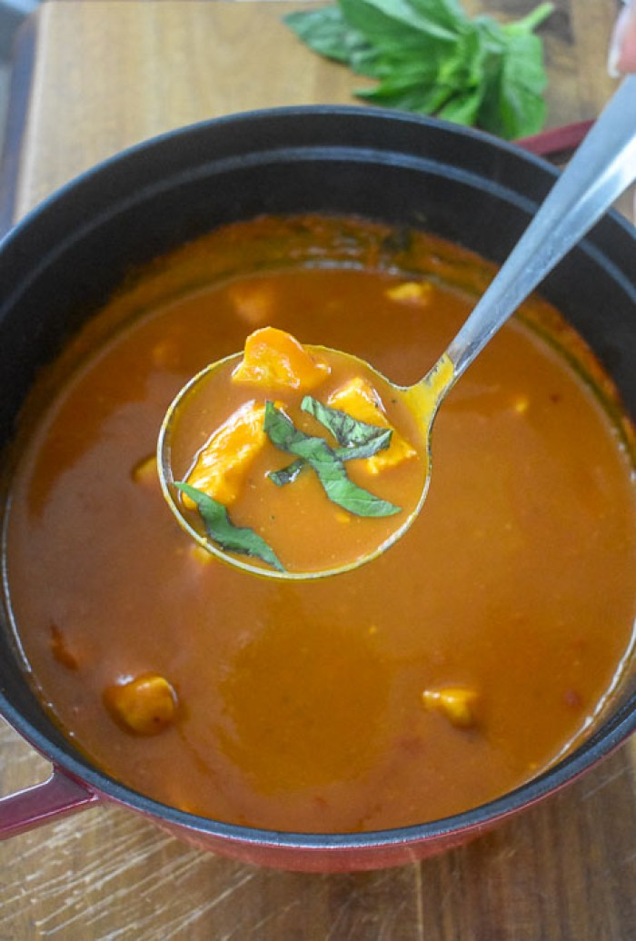 ladle of tomato basil chicken soup