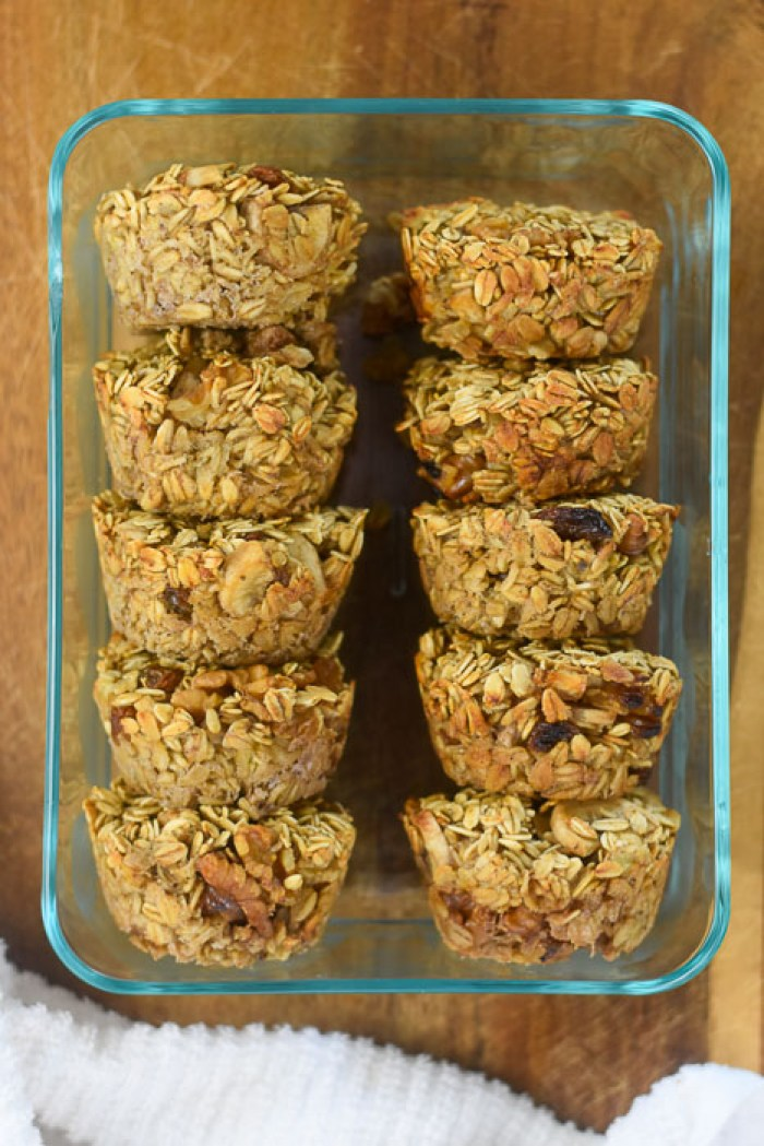 banana nut oatmeal muffins in storage container