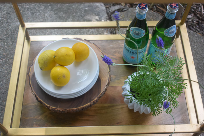 lemons and fresh lavender on bar cart
