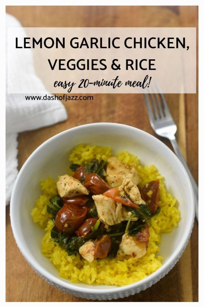 lemon garlic chicken veggies & rice pinterest pin