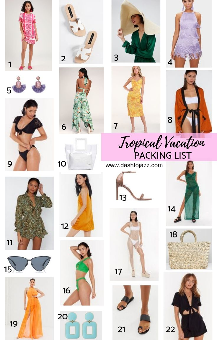 A visual vacation packing list of colorful on-sale outfits, shoes, and accessories with tropical vibes--grab them while they\'re still in stock! Roundup by Dash of Jazz #dashofjazzblog #vacationpackinglist #beachoutfitswomen #puertoricovacationoutfits #resortoutfits