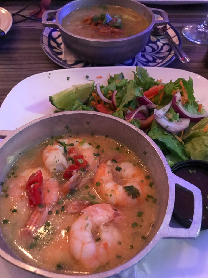 garlic shrimp, salad, and plantain soup at Waiter's Restaurant in San Juan, Puerto Rico