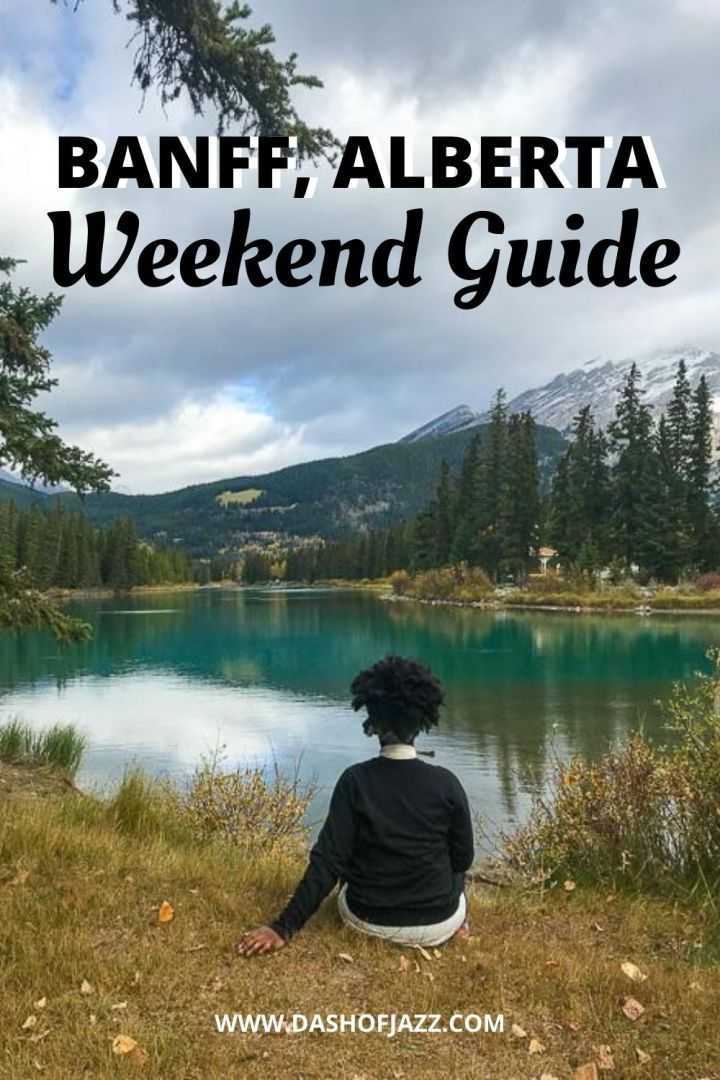 """River in Banff, Alberta with text overlay """"Banff, Alberta Weekend Guide"""""""