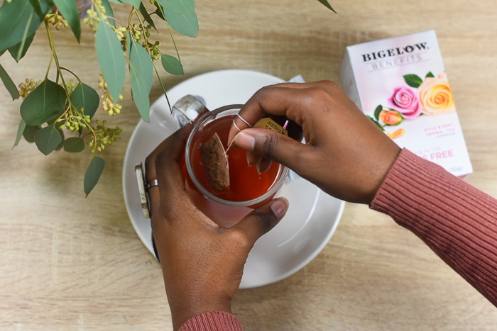 steeping rose & mint tea