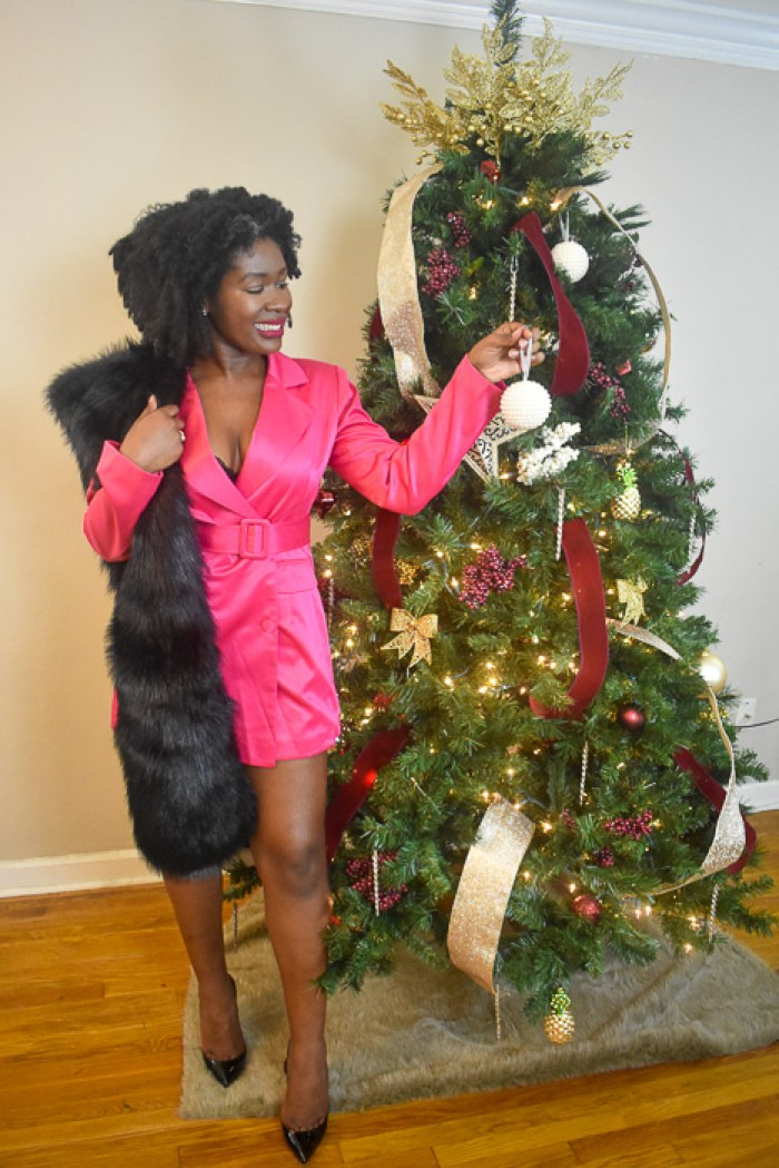 Dash of Jazz in hot pink blazer dress and black fur stole
