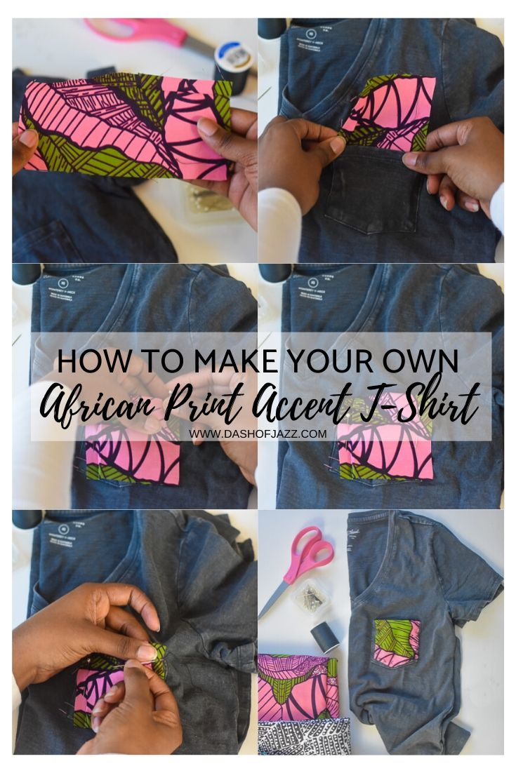 step by step photos for of sewing Ankara piece on t-shirt