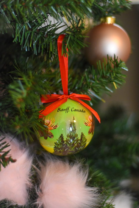 Banff, Alberta souvenir ornament on Christmas tree