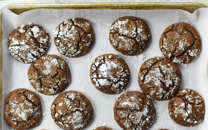 gingerbread cocoa cookies on baking sheet