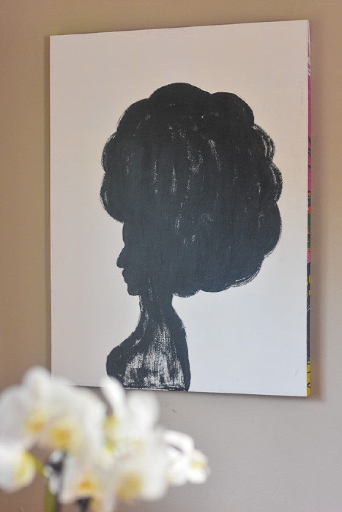 black and white painted afro silhouette on canvas
