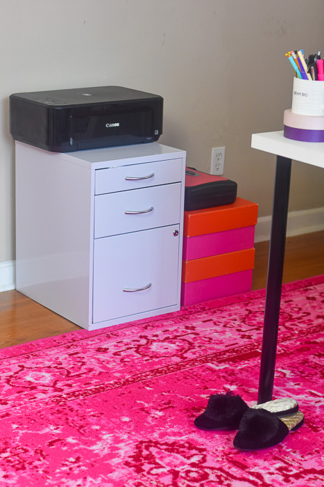 file cabinet and printer in blogger's home office