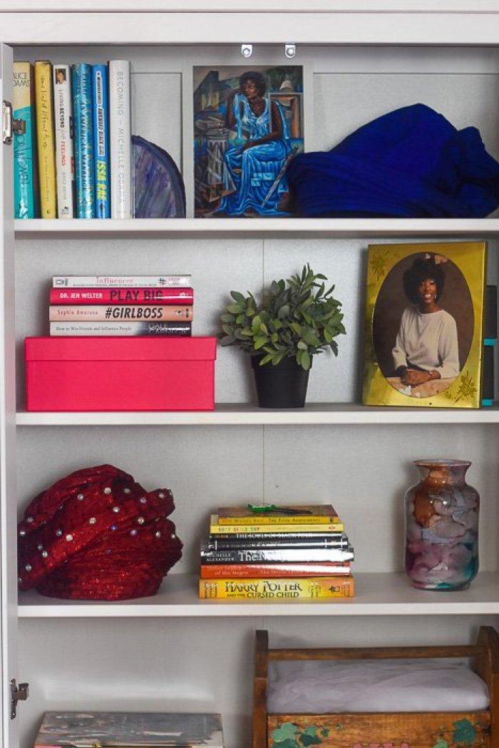 styled IKEA Hemnes bookshelf in girl boss blogger's home office