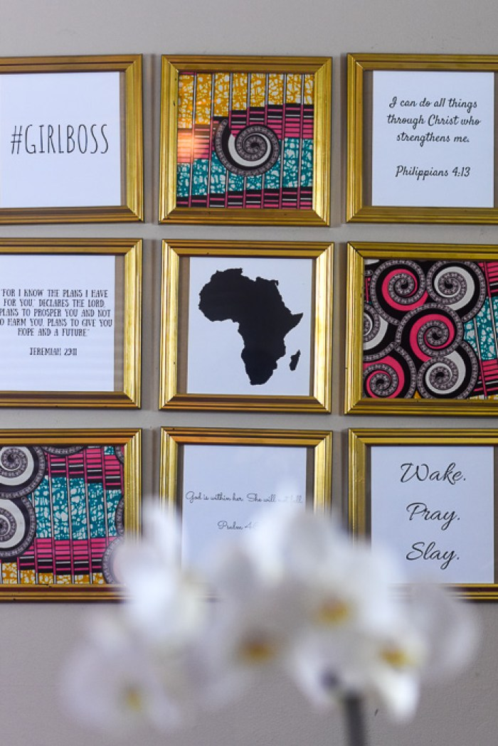 glam girl boss gallery wall in Dash of Jazz home office