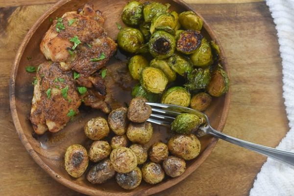 Honey Mustard Chicken with Brussels Sprouts & Baby Potatoes