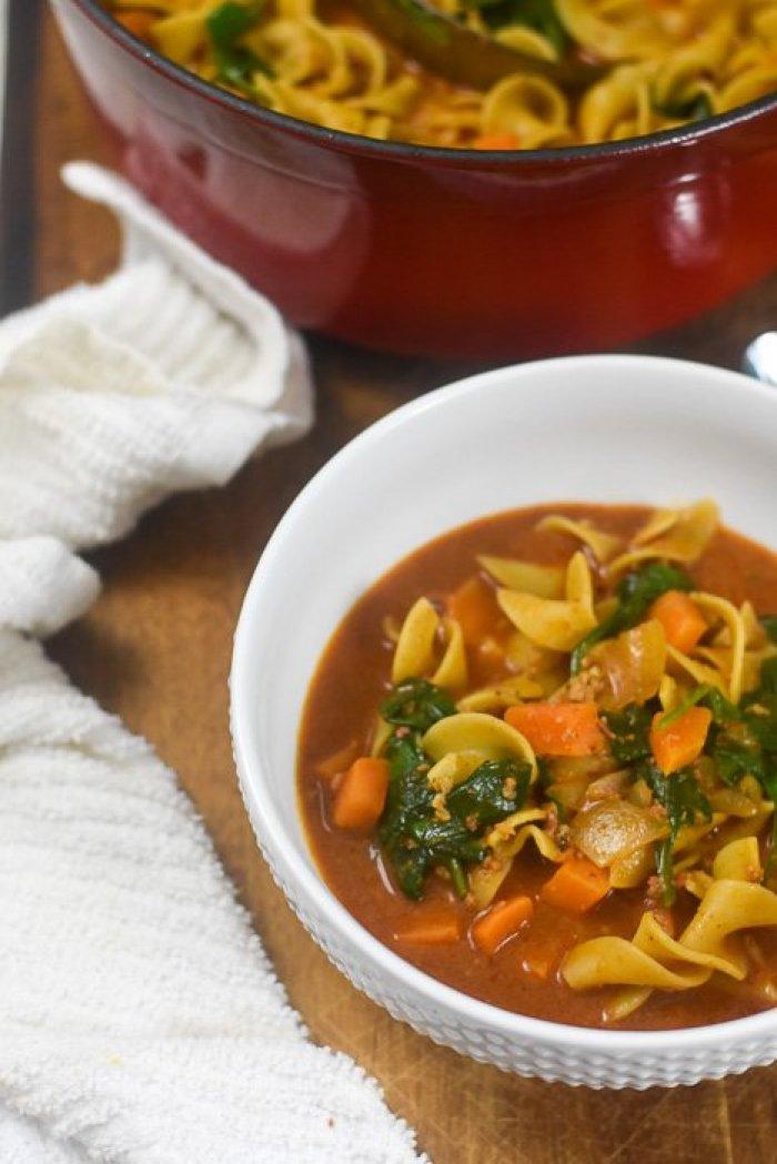 bowl of sweet potato chorizo noodle soup