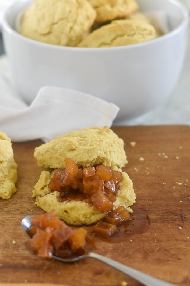 vegan buttermilk biscuit with pear compote