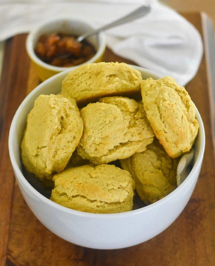 bowl of vegan buttermilk biscuits