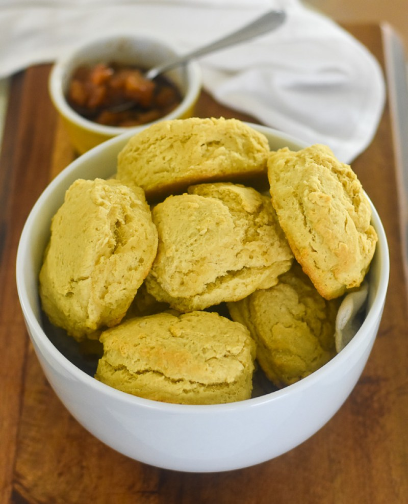 bowl of vegan buttermilk biscuits