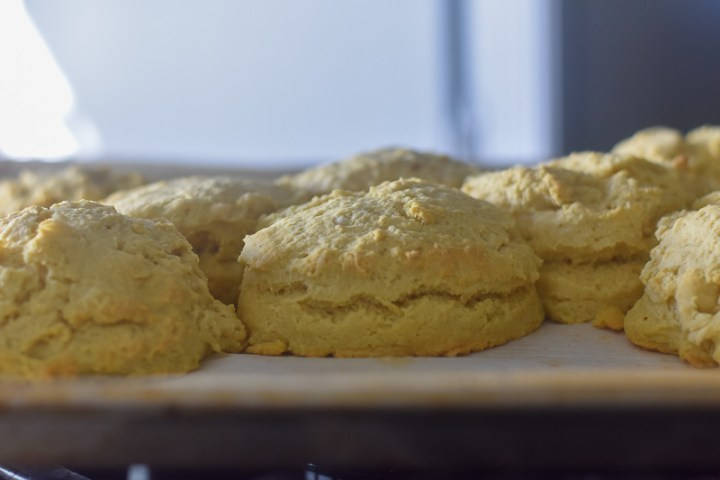 pan of fluffy vegan buttermilk biscuits