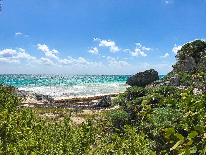 view of hidden beach at Tulum Mayan Ruins