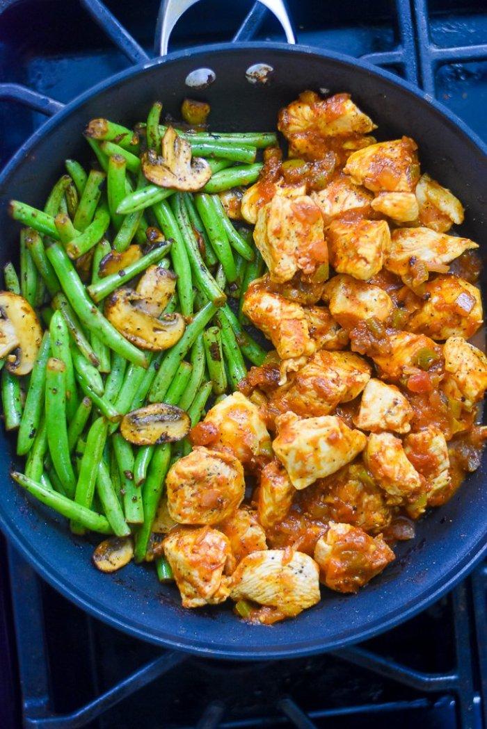 salsa chicken & lemon garlic veggies in skillet