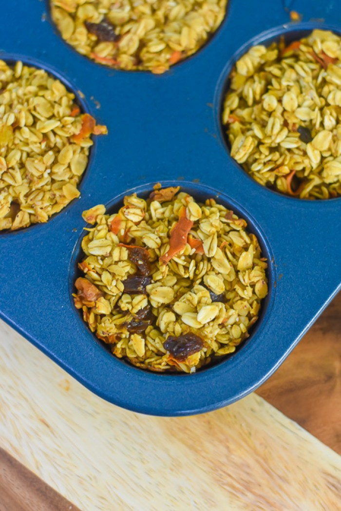 baked oatmeal muffins in pan