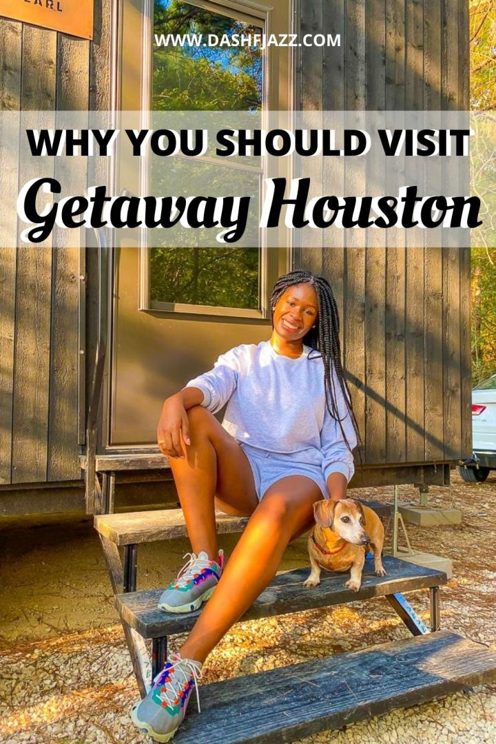 "Jazzmine and JoJo sitting on steps of Getaway House cabin with text overlay ""Why you should visit Getaway Houston"""