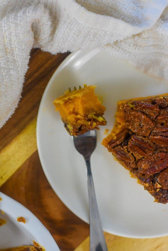 bite of bourbon sweet potato pecan pie on fork