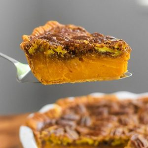 Bourbon Sweet Potato Pecan Pie