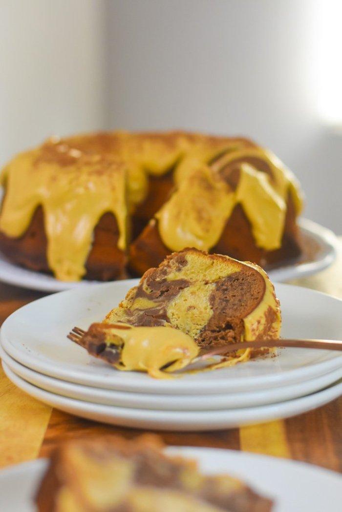 slice of chocolate peanut butter swirl pound cake