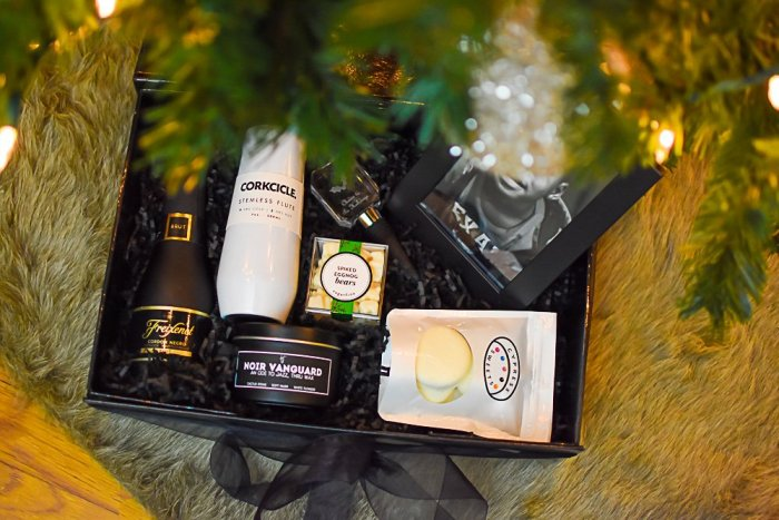 custom gift box from The Radiant Label underneath Christmas tree