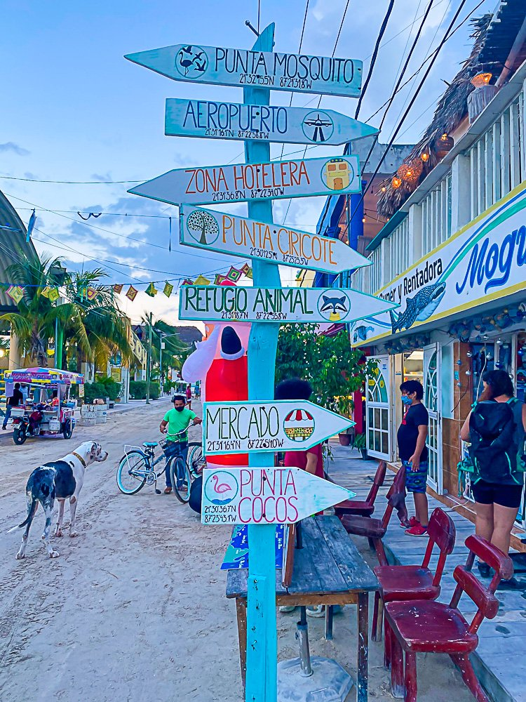 sign on Isla Holbox directing to various points of interest