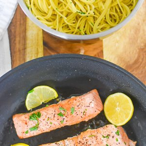 Simple Seared Salmon and Naked Pasta