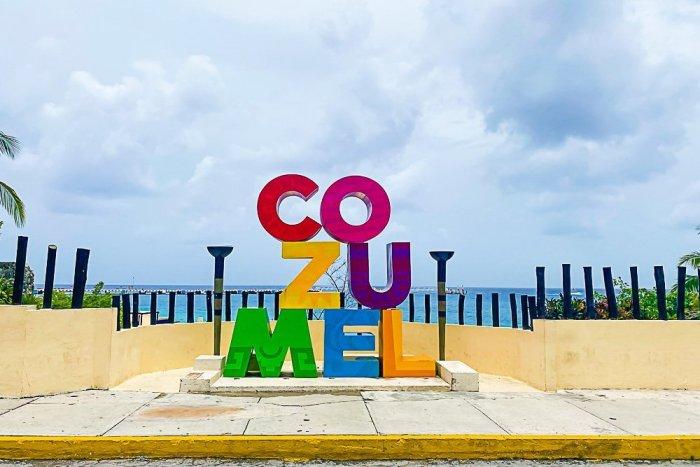 cozumel sign near cruise ship terminal