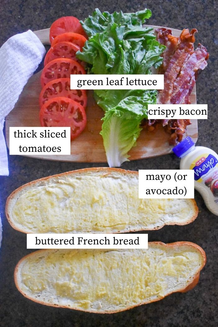 flat lay of ingredients for a giant BLT sandwich.