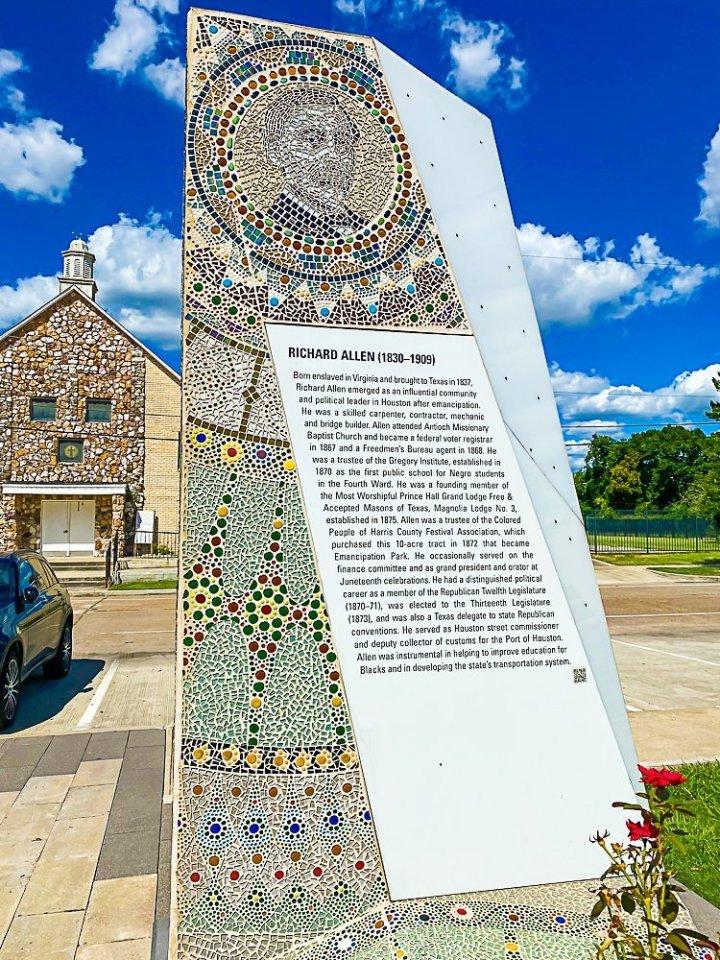 Richard Allen pillar in Emancipation Park.