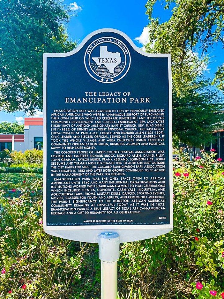 Emancipation Park historical marker.