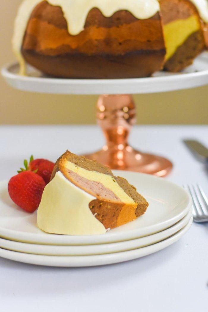 slice of neapolitan pound cake.