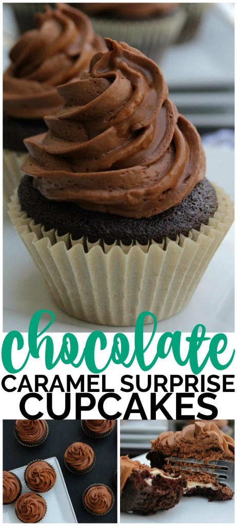 Chocolate Caramel Surprise Cupcakes pinterest image