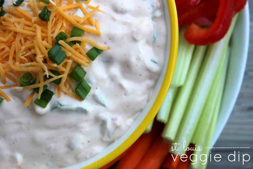 This St. Louis Veggie Dip is the best veggie dip I have ever had. Sorry ranch, move on over!So easy to prepare and delicious with veggies or crackers.