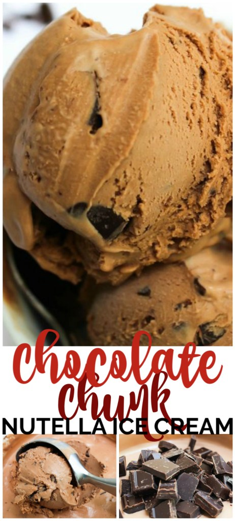 Chocolate Chunk Nutella Ice Cream pinterest image