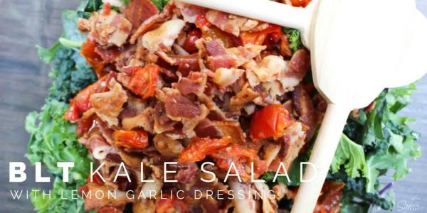 """This """"BLT"""" Kale Salad"""" has large chunks of bacon, kale,& roasted tomatoes with a lemon garlic dressing. This salad takes the term BLT to a whole new level."""