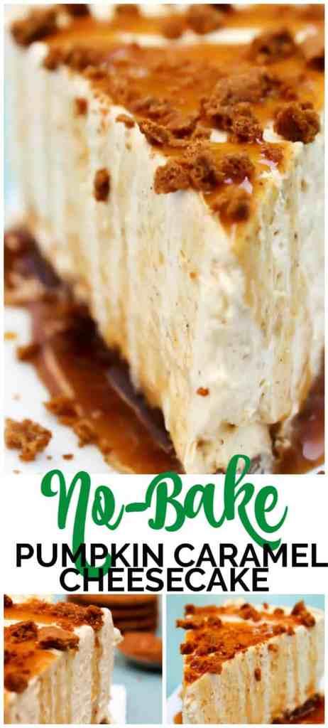 No-Bake Pumpkin Caramel Cheesecake pinterest image